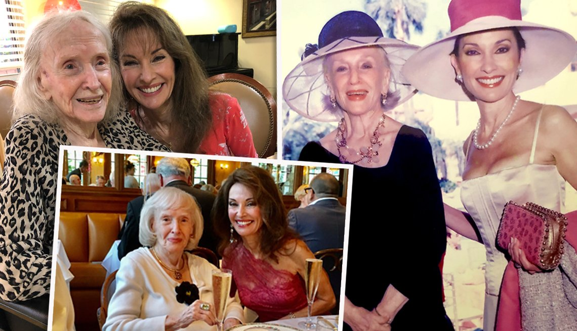 a collage of three snapshots of susan lucci with her mother