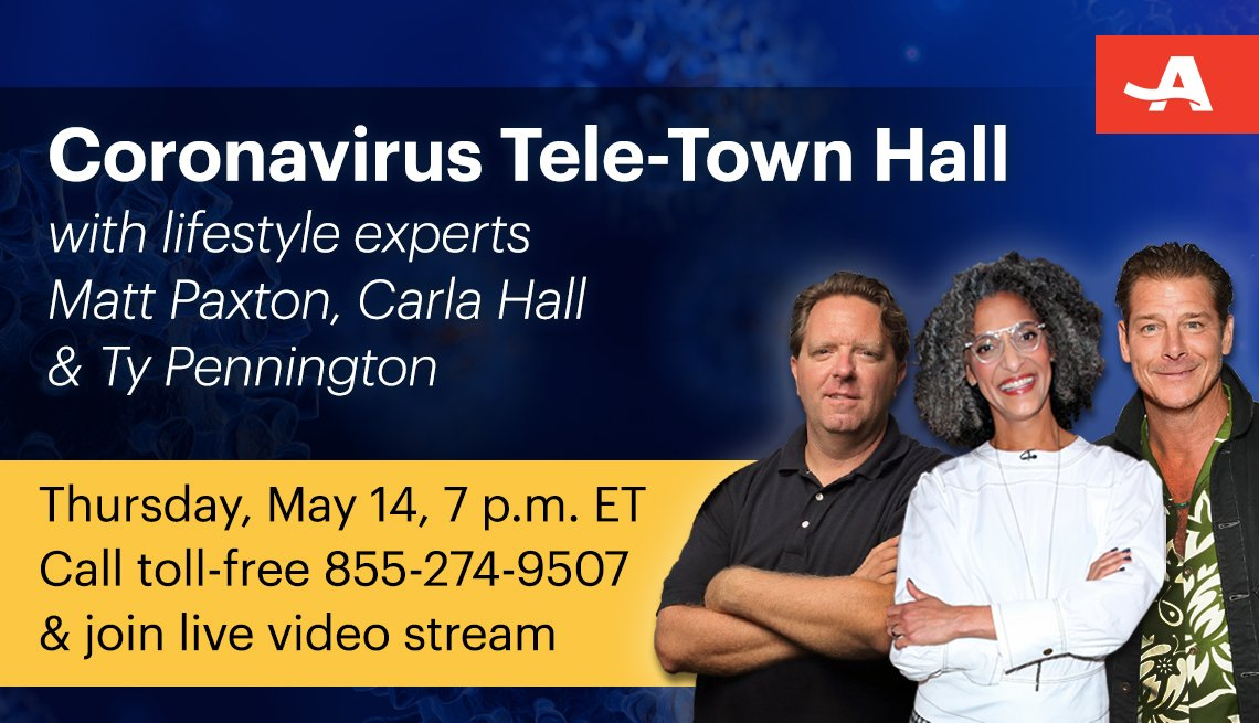 coronavirus information tele town hall with home lifestyle experts matt paxton carla hall and ty pennington on may fourteenth at one p m call toll free one eight five five two seven four nine five zero seven and join live video stream