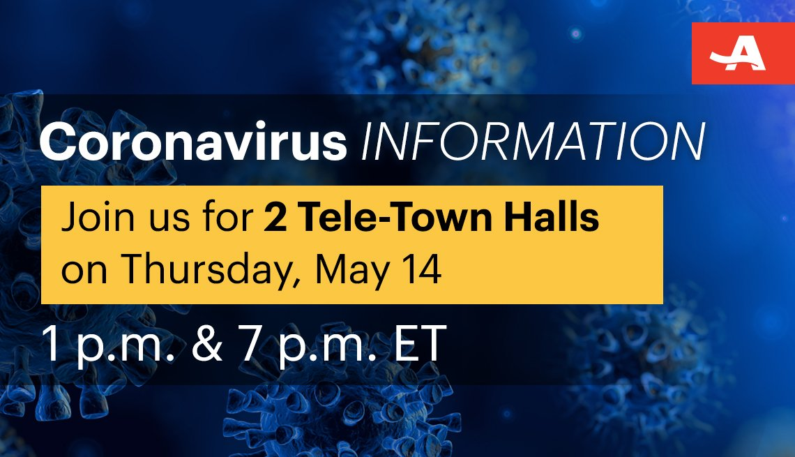 join us on thursday may fourteenth for two coronavirus information tele town halls the first at one p m and the second at seven p m eastern time
