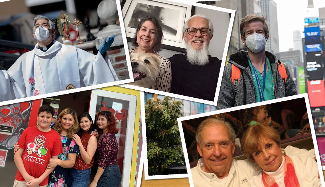 Foto montaje de varias familias latinas