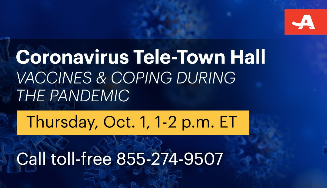 coronavirus tele town hall on vaccines and coping during the pandemic in on thursday october first from one to two p m call toll free one eight five five two seven four nine five zero seven