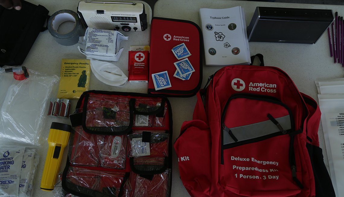 Bags containing information about emergency kits, contact information and emergency instructions.