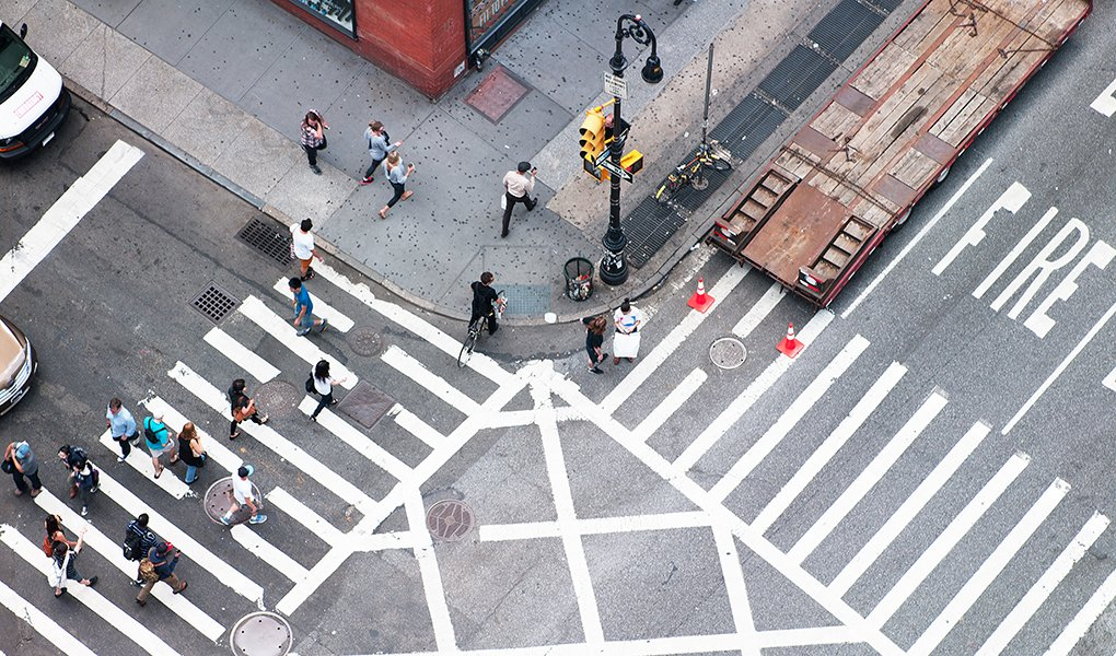Overhead of crosswalk in New York City