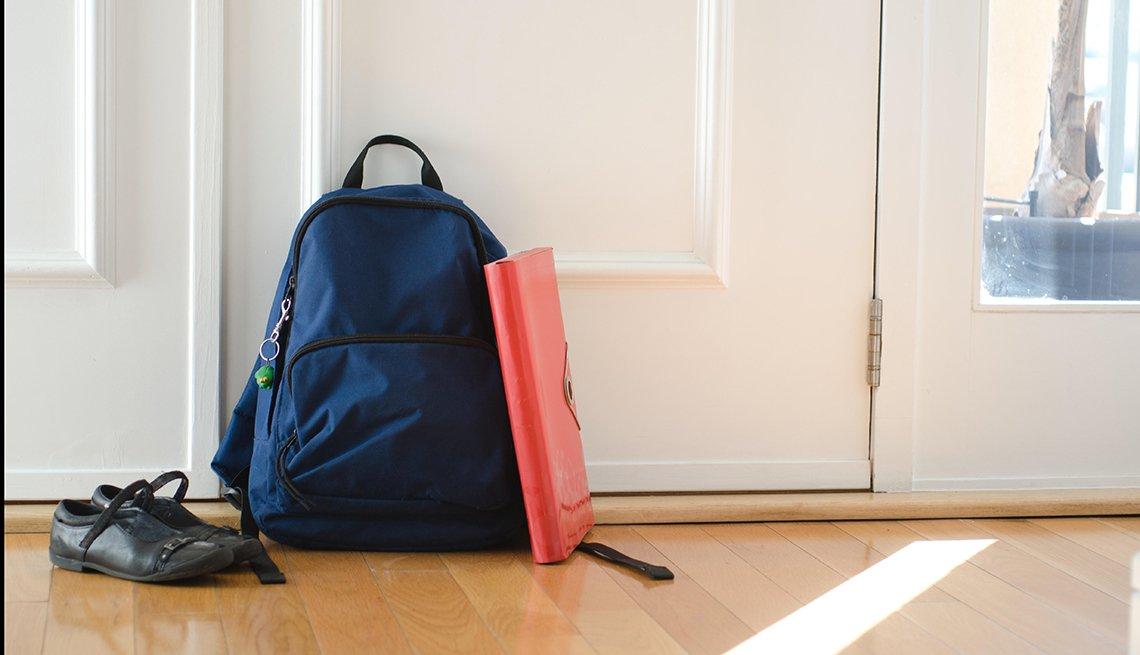 Backpack by front door