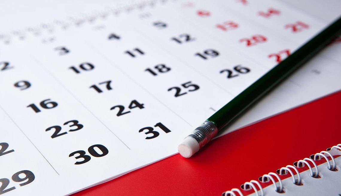 Calendar and pencil