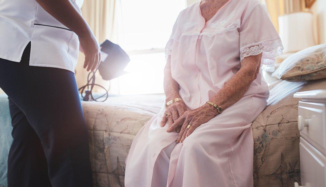 A home caregiver with a senior woman