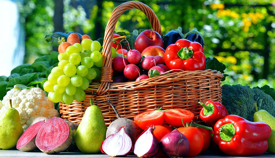 Basket of fresh organic vegetables and fruits