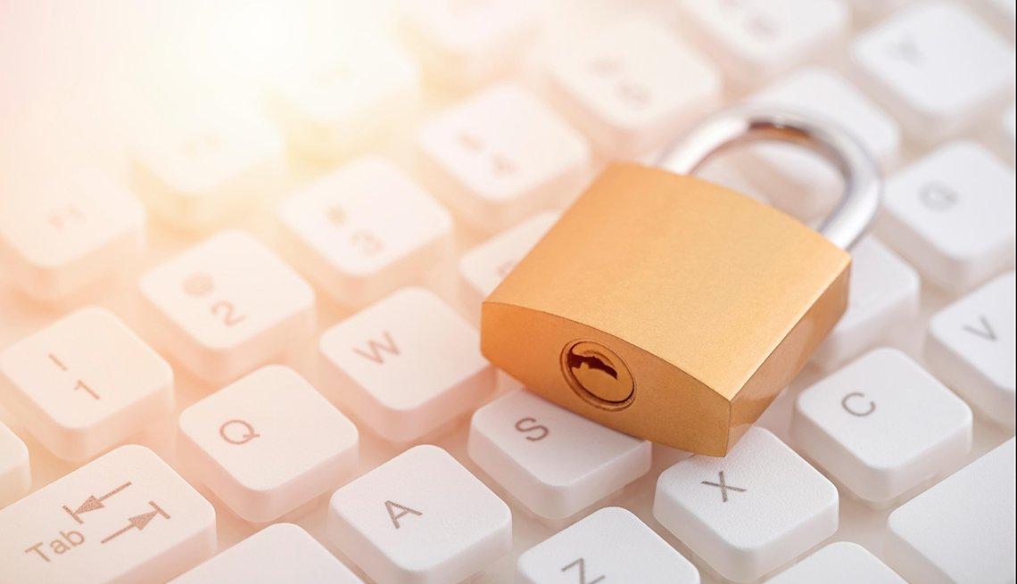 Padlock on computer keyboard