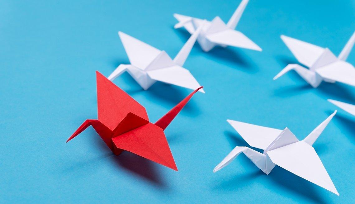 A Japanese origami crane
