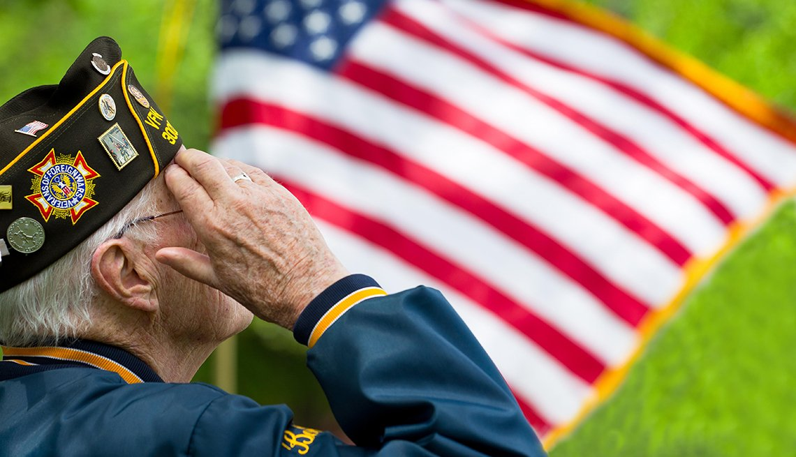 Veteran salutes U.S. flag