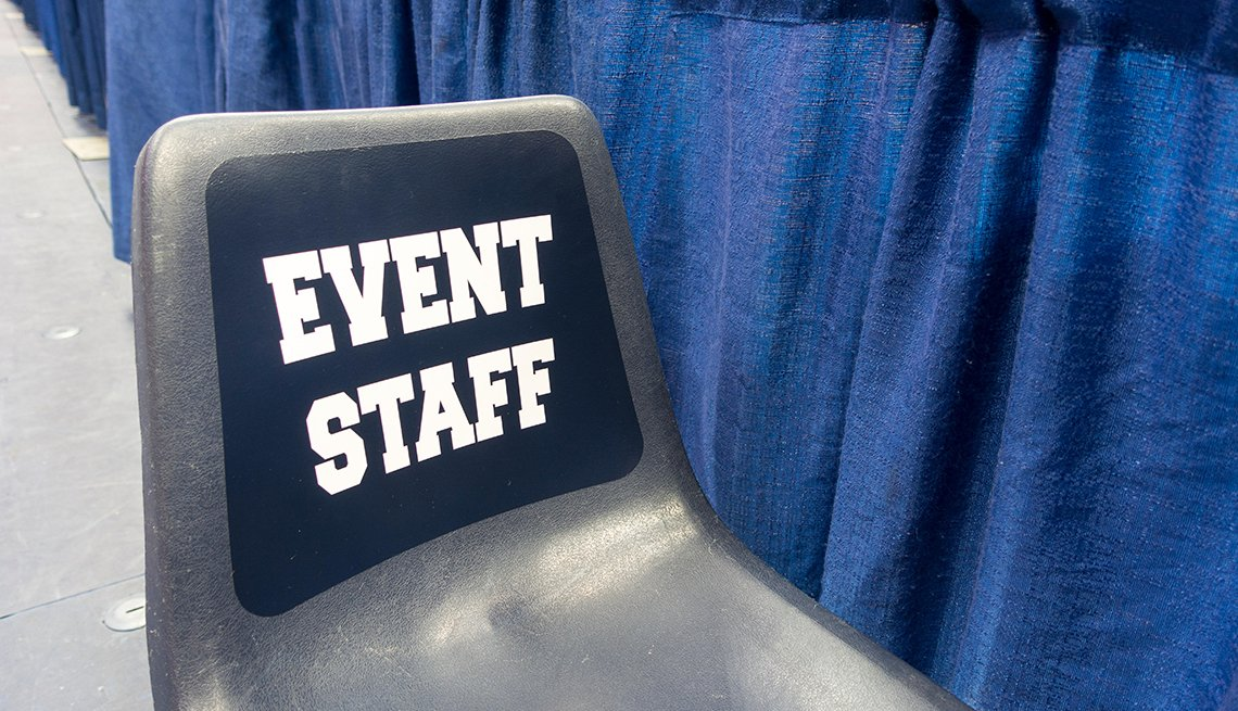 Event staff copy on chair