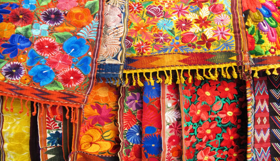 A close-up of colorful tapestries