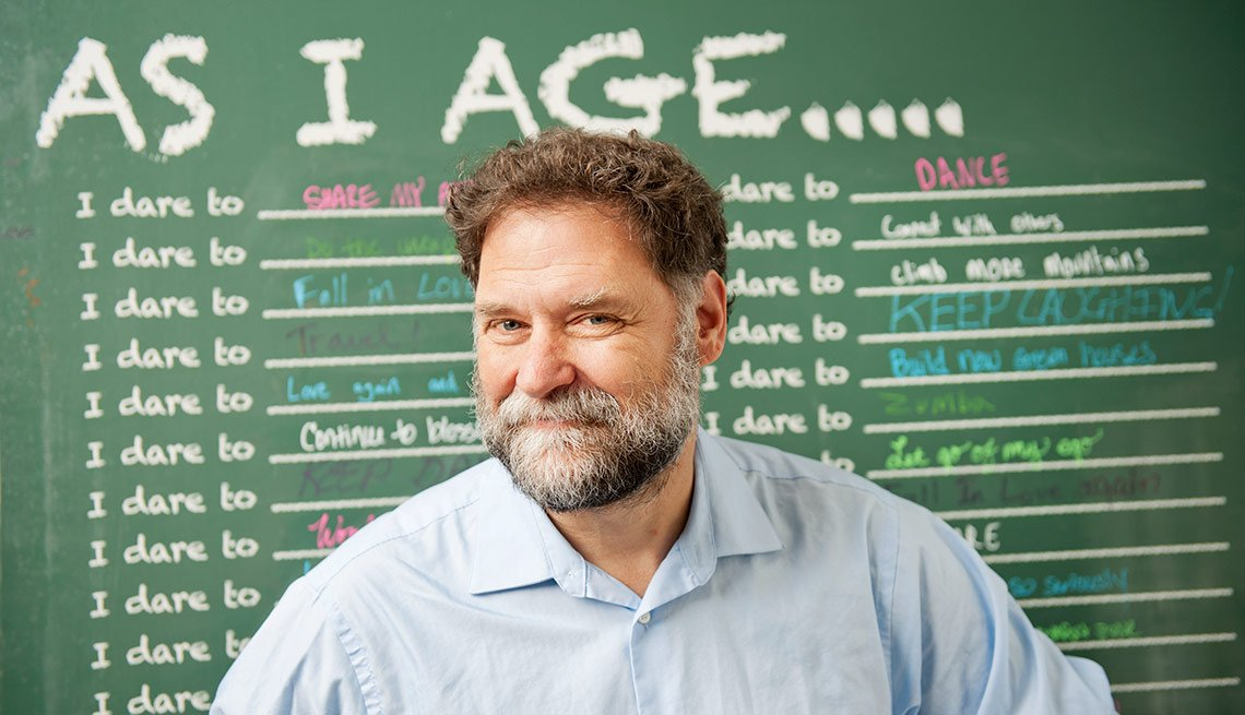 Dr. Bill Thomas In Front Of 'As I Age' Chalkboard, Disrupt Aging