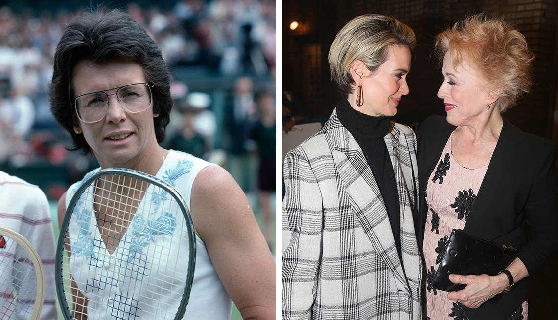 Tennis player Billie Jean King on the court on the left and Sarah Paulson with Holland Taylor on the right