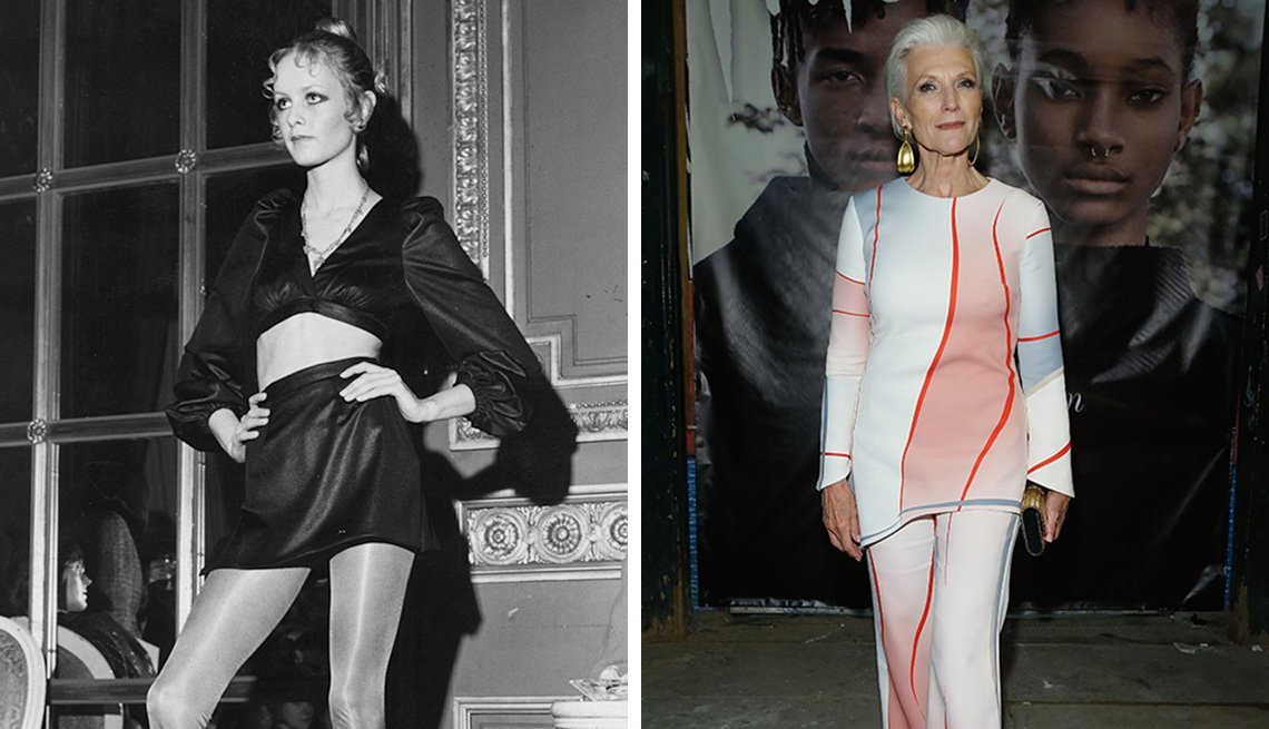 modeling shots of Twiggy and Maye Musk