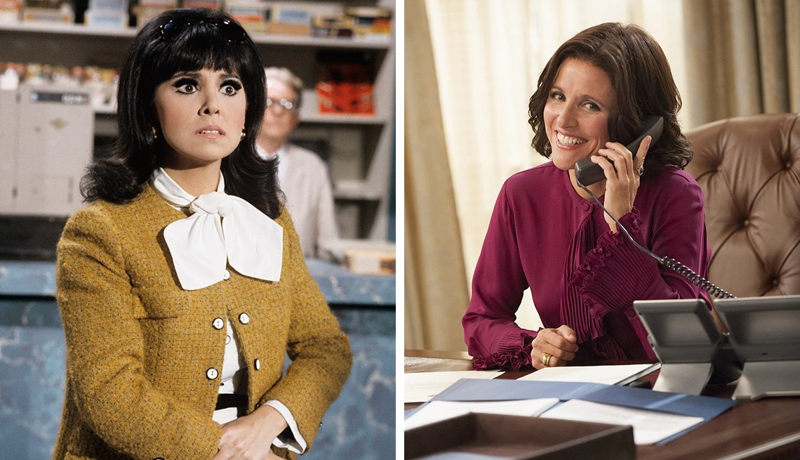 Marlo Thomas on the left in That Girl and Julia Louis-Dreyfus in VEEP