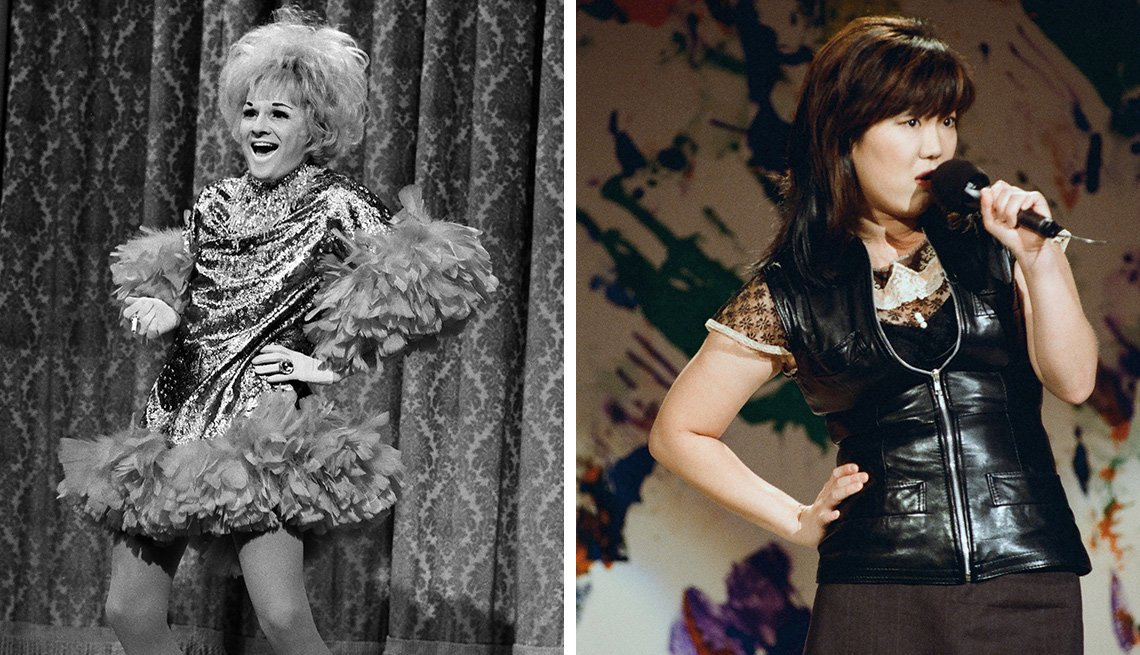 images of Phyllis Diller and Margaret Cho performing