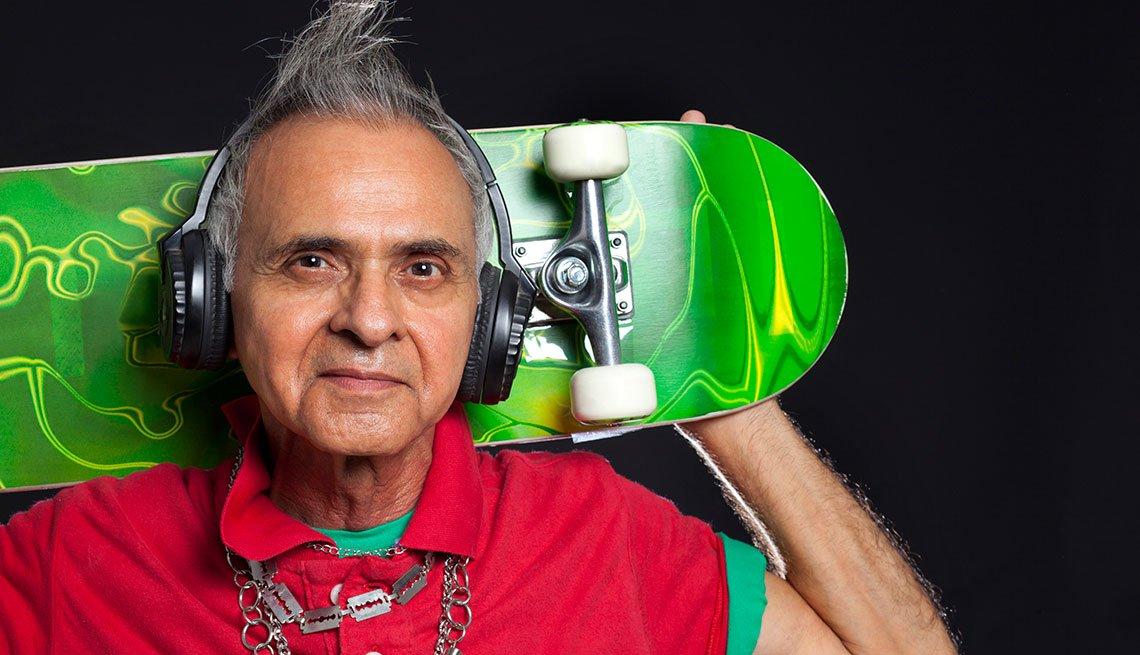 a man holding skateboard