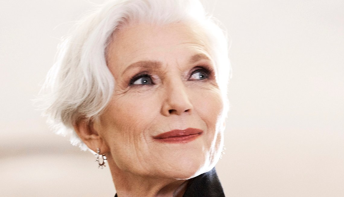item 2 of Gallery image - Close up of model Maye Musk's face