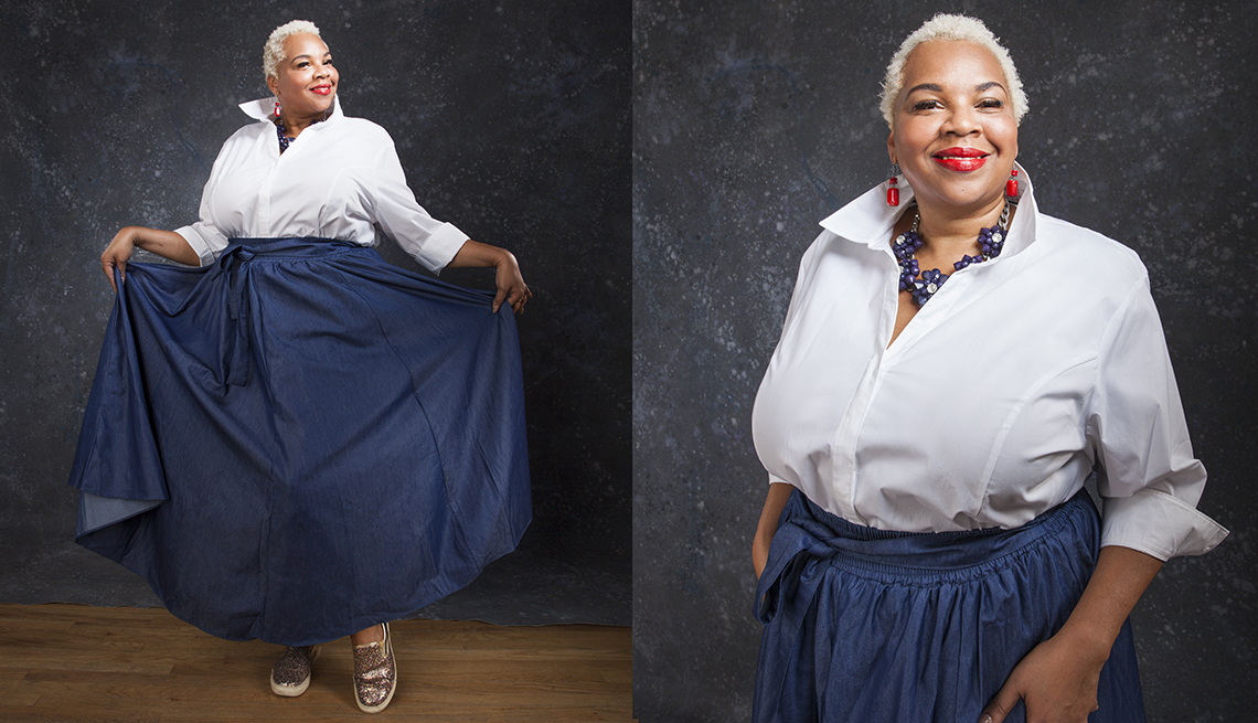 item 7 of Gallery image - Ja Tawn Avant wearing a white button up blouse, denim colored skirt and sequin sneakers