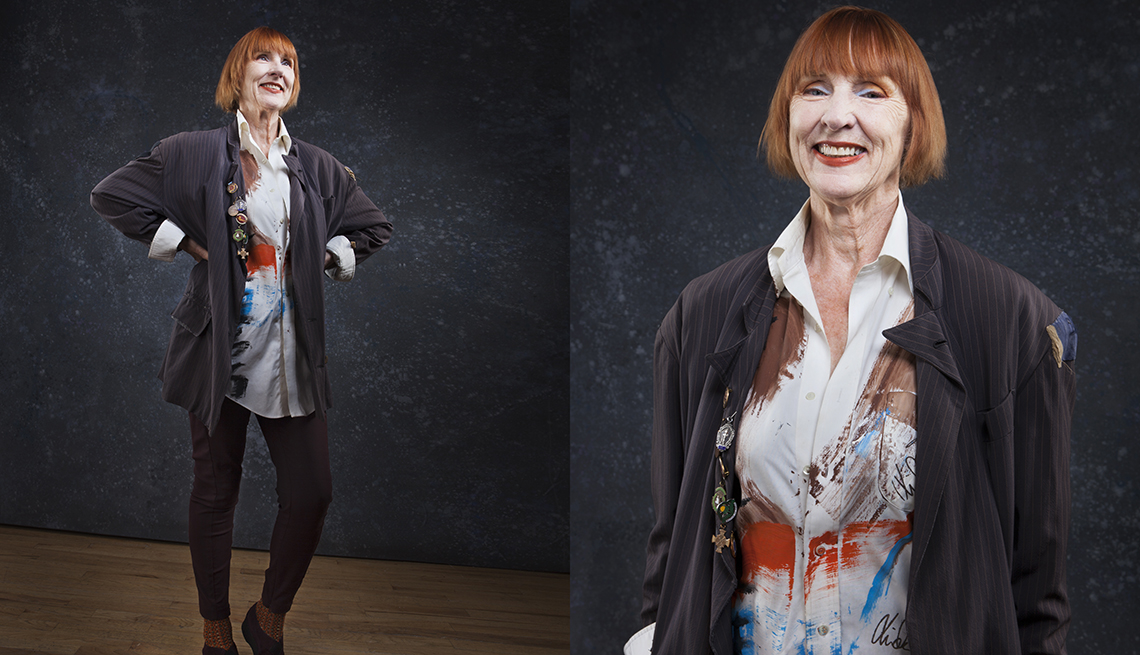 item 10 of Gallery image - Linda Mason wearing a vintage men's jacket and colorful blouse