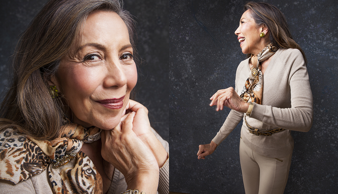 item 5 of Gallery image - Silvia Pilar wearing beige colored sweater and pants and a leopard print scarf