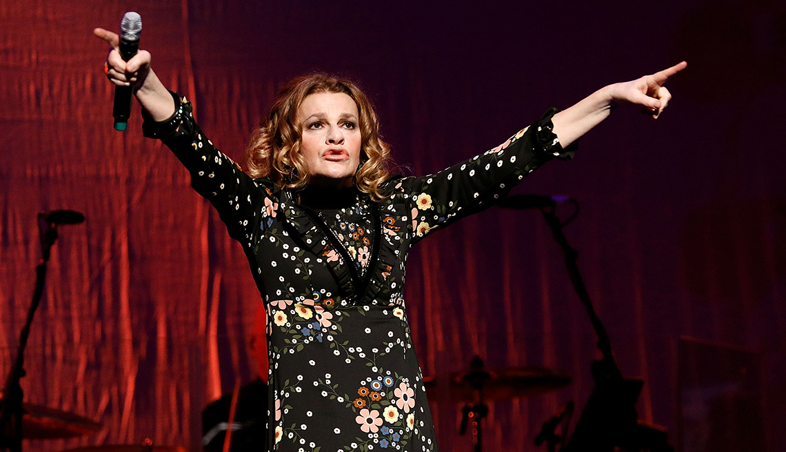 """Comedian Sandra Bernhard performs during Cyndi Lauper's 2017 """"Home for the Holidays"""" concert"""