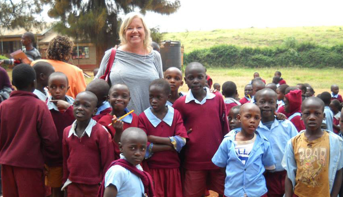 Shelley lends a hand at the school in Kenya