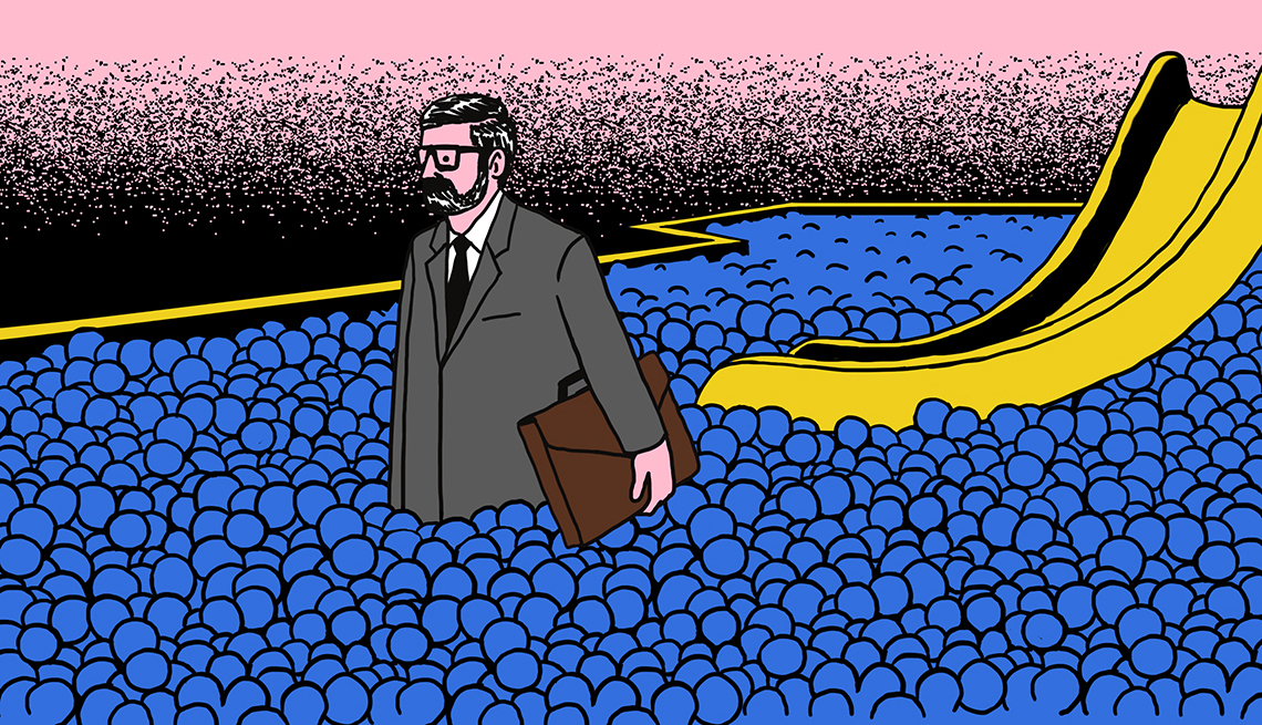 Illustration of a man in a business suit standing in a ball pit with a slide in the background