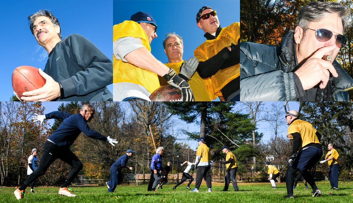 Collage of multiple images of men outdoors playing touch football