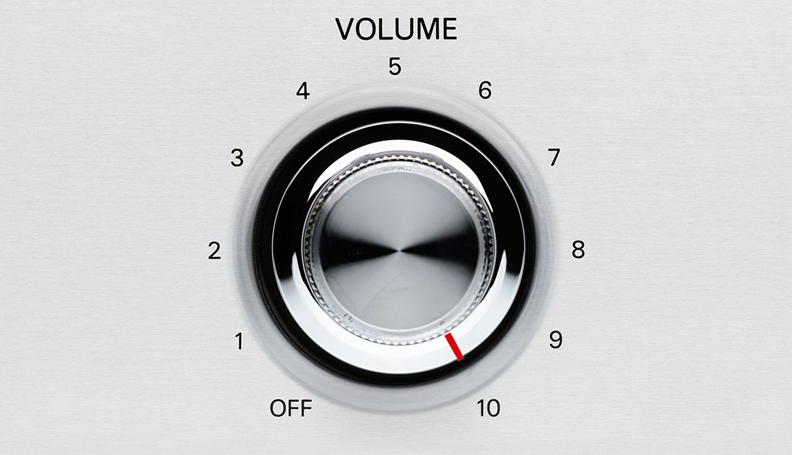 A chrome volume knob turned all the way to 10.