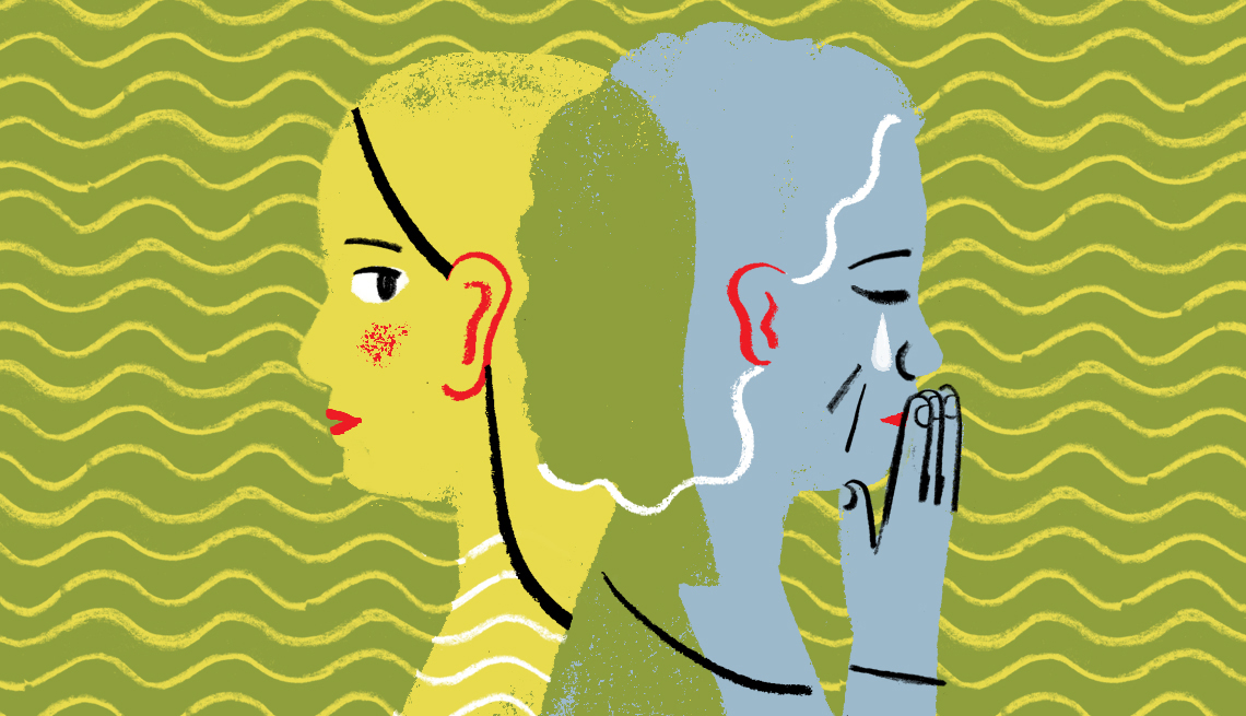Illusration of two women, back to back. One woman is crying
