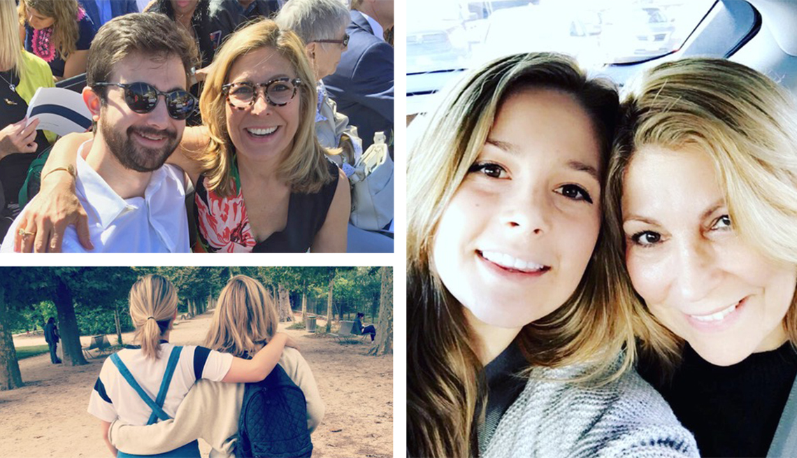 Collage of three photos of Lesley Jane Seymour with her son and daughter