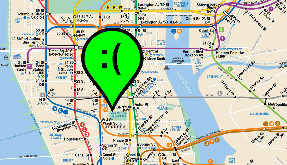 Part of New York subway map with a green location pin on it