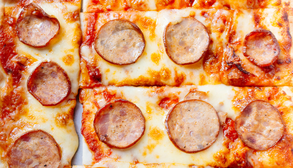 Close up of a slice of pepperoni pizza