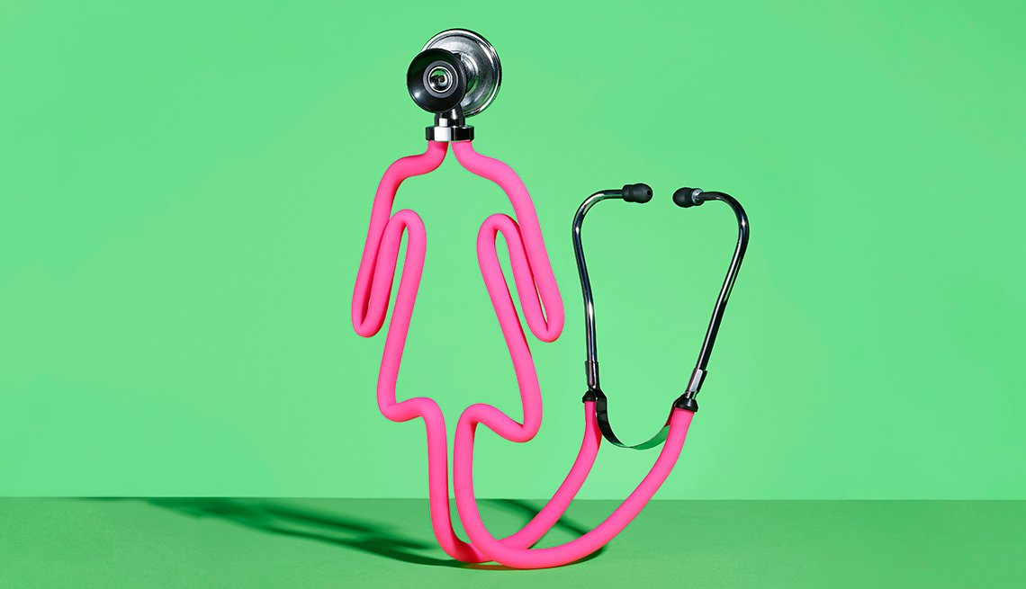 Pink stethoscope shaped into the outline of a woman