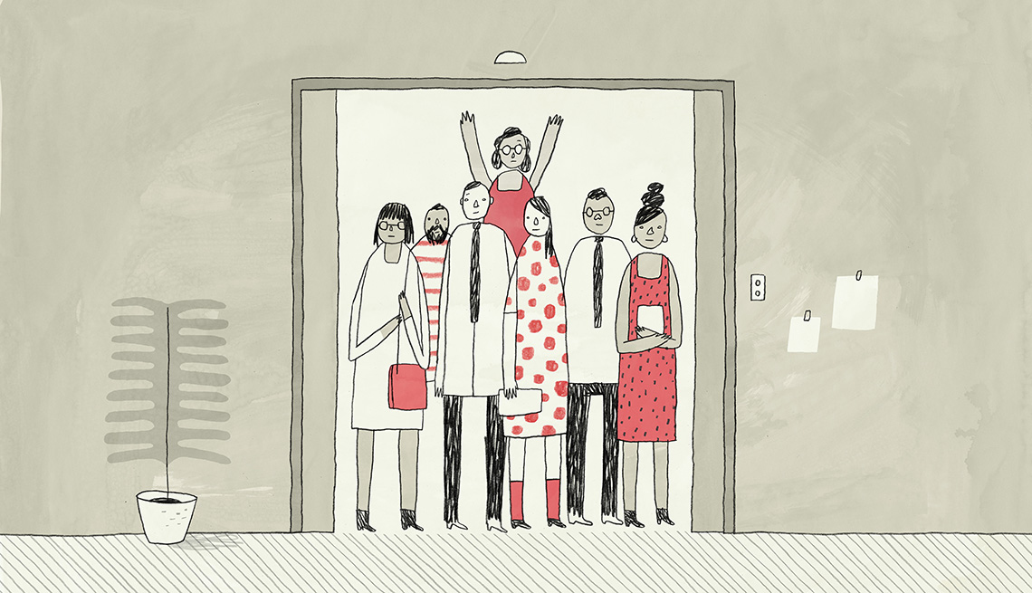 Illustration of a group of people in an elevator. A woman in the back has her arms reached up