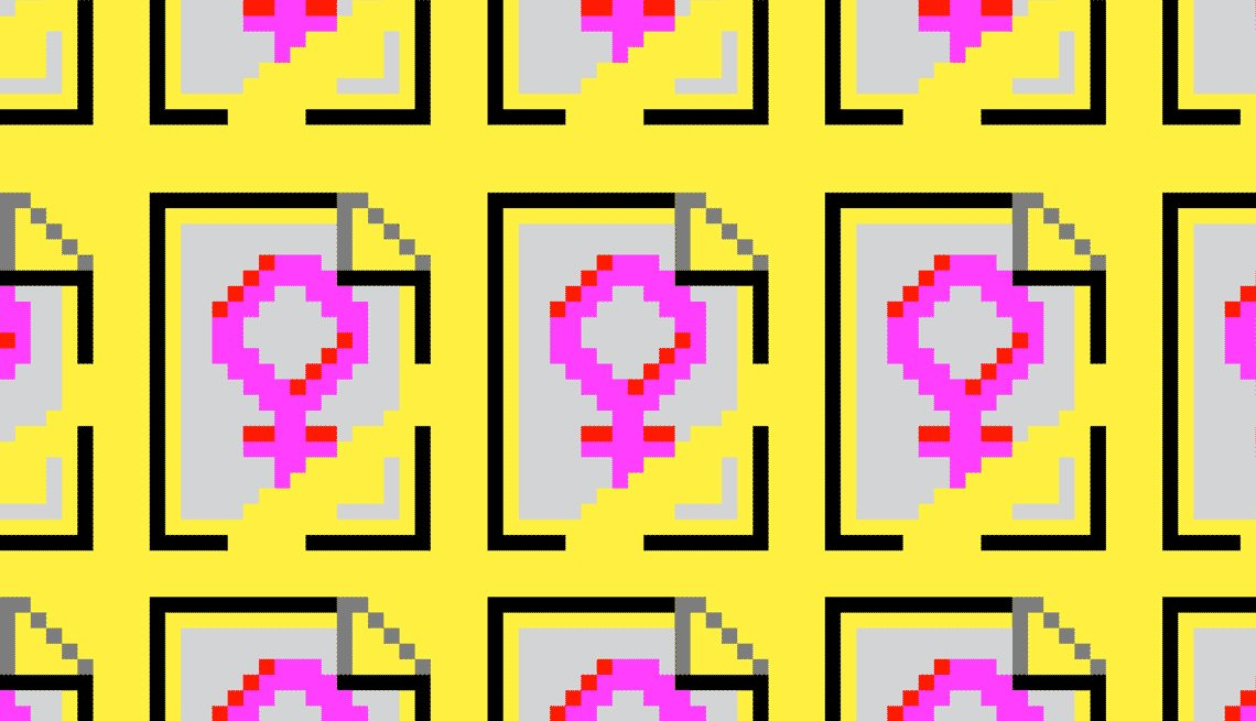 Illustration of a pink, pixilated gender symbol for female repeated multiple times on a yellow background