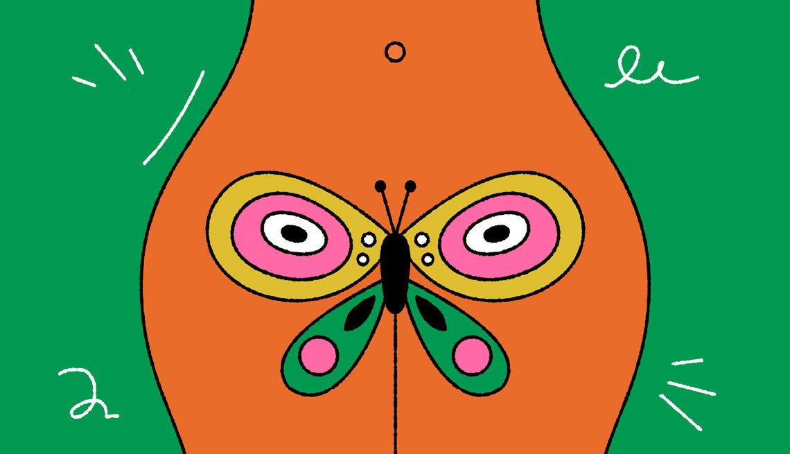 Illustration of a woman's hip area with a butterfly overlaid