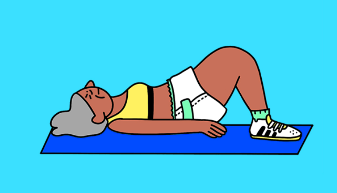 Illustration of a woman laying on a mat doing a pelvic tilt exercise