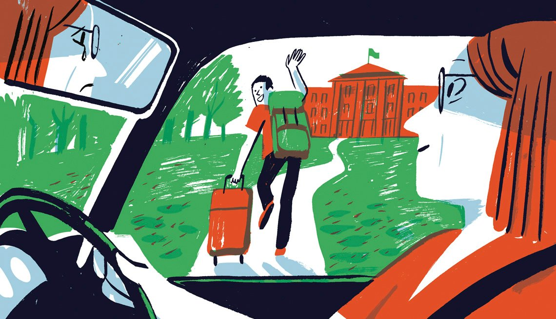 Illustration of a woman in a car dropping her son off at college