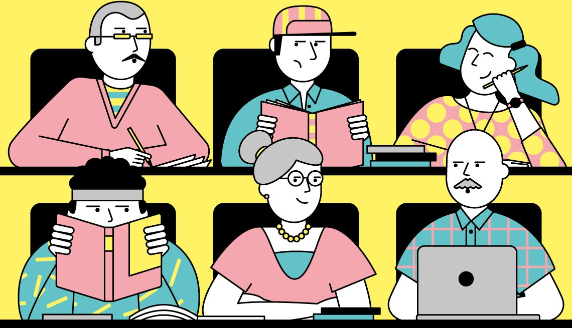 Illustration of an older woman sitting in a college classroom with younger students