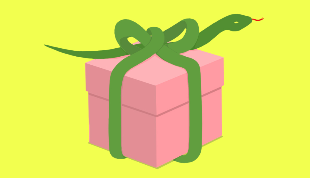 A green snake wrapped around a present like a bow