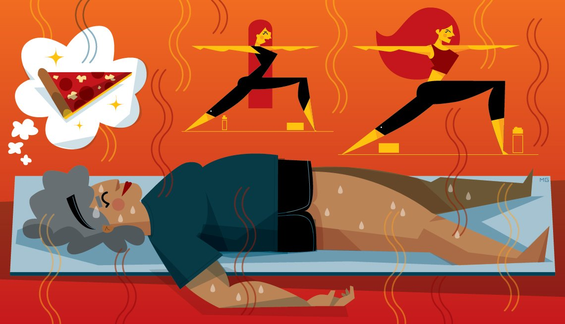 Illustration of a woman doing hot yoga with a thought bubble with an image of a slice of pizza