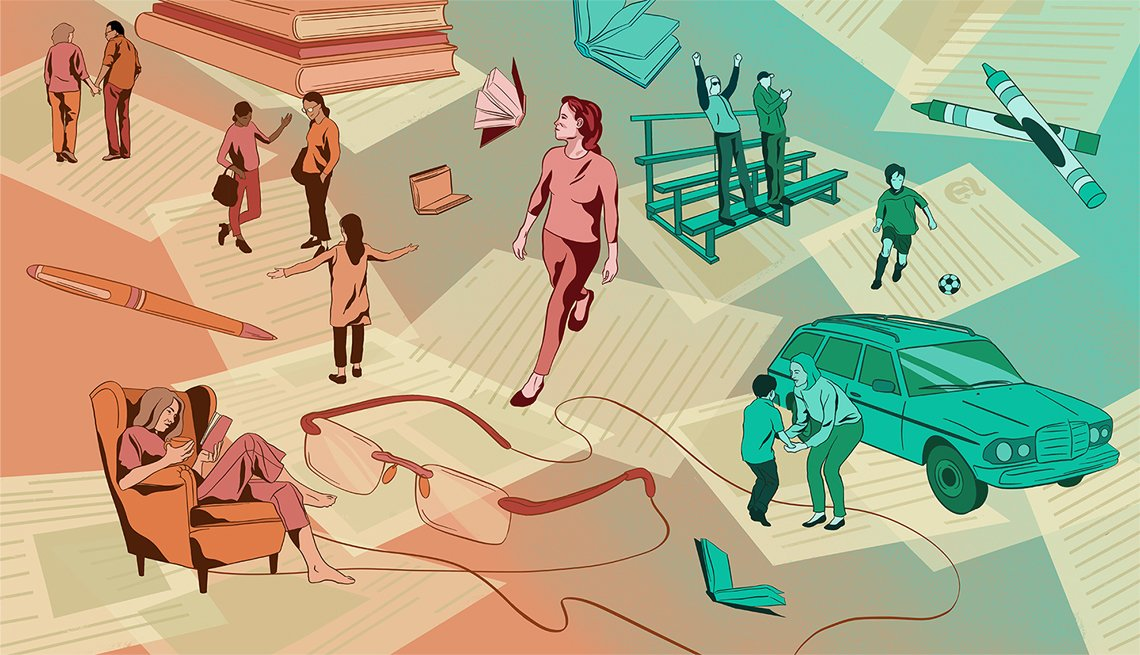 Illustration of a woman in different life situations such as watching her child play soccer, reading a book, and talking to a colleague