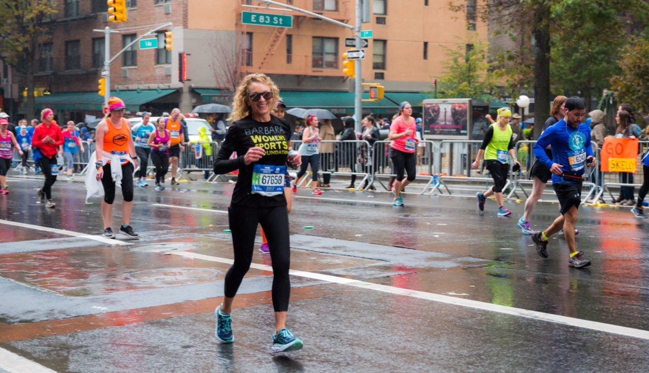 Barbara Hanna Grufferman running in a marathon