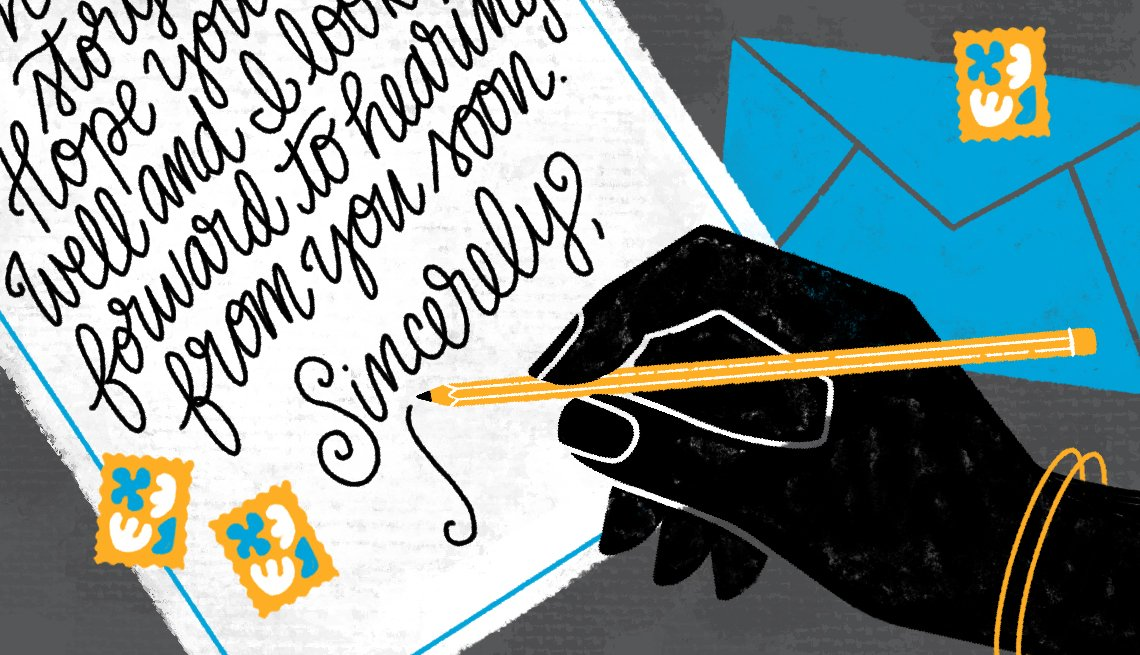 Illustration of a hand holding a pencil and writing a letter. A blue envelope is in the background