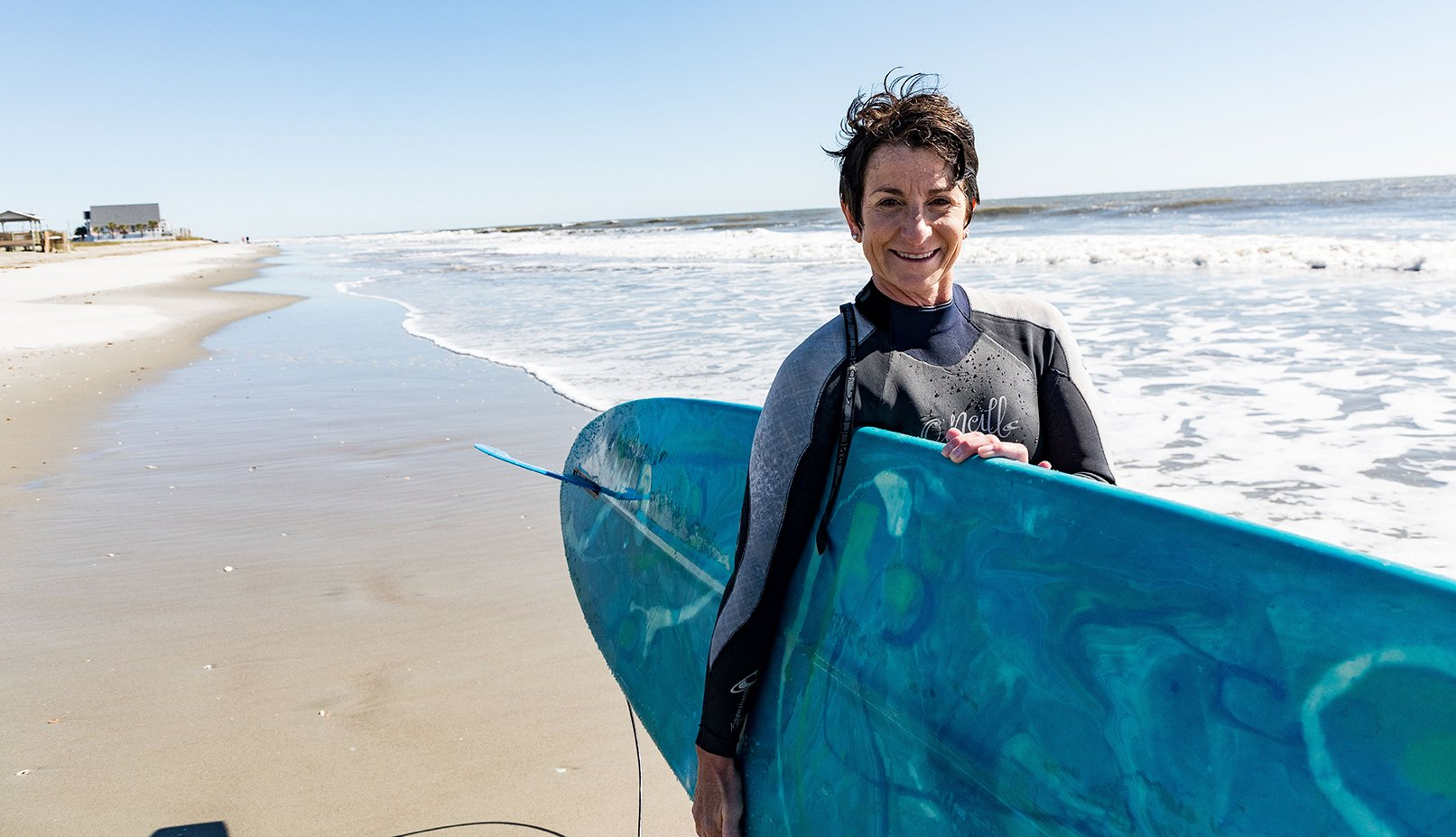 Surfer Christine Scaplen at The Washout, Folly Beach, SC