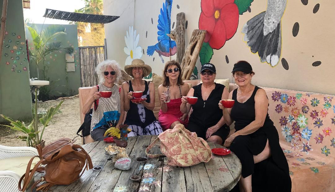 Janie Emaus and four friends enjoy coffee on a trip to Baja California, Mexico