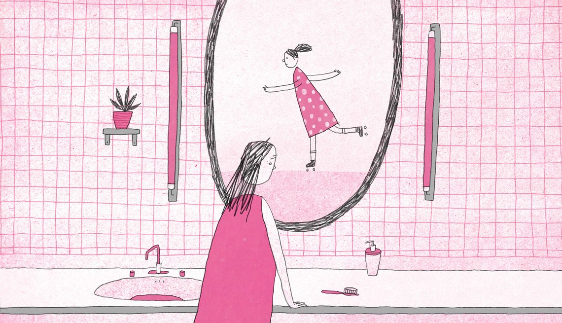 Illustration of a woman looking into a bathroom a mirror. Her reflection shows a younger girl roller skating